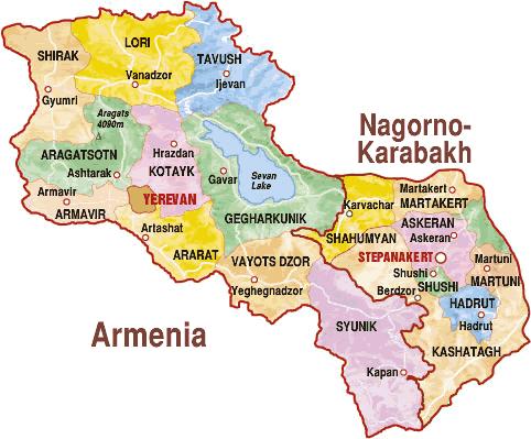 Map of Armenia & Karabakh